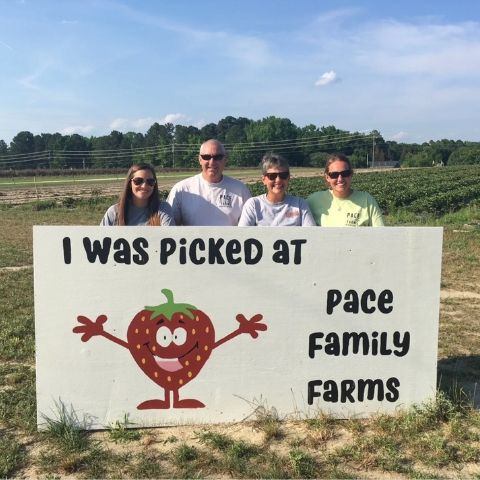 The Pace family at Pace Family Farms during strawberry season.